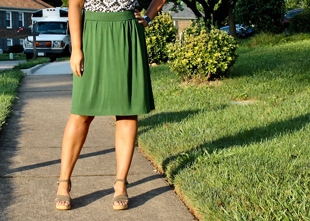 DIY gathered jersey skirt you can sew without a pattern.