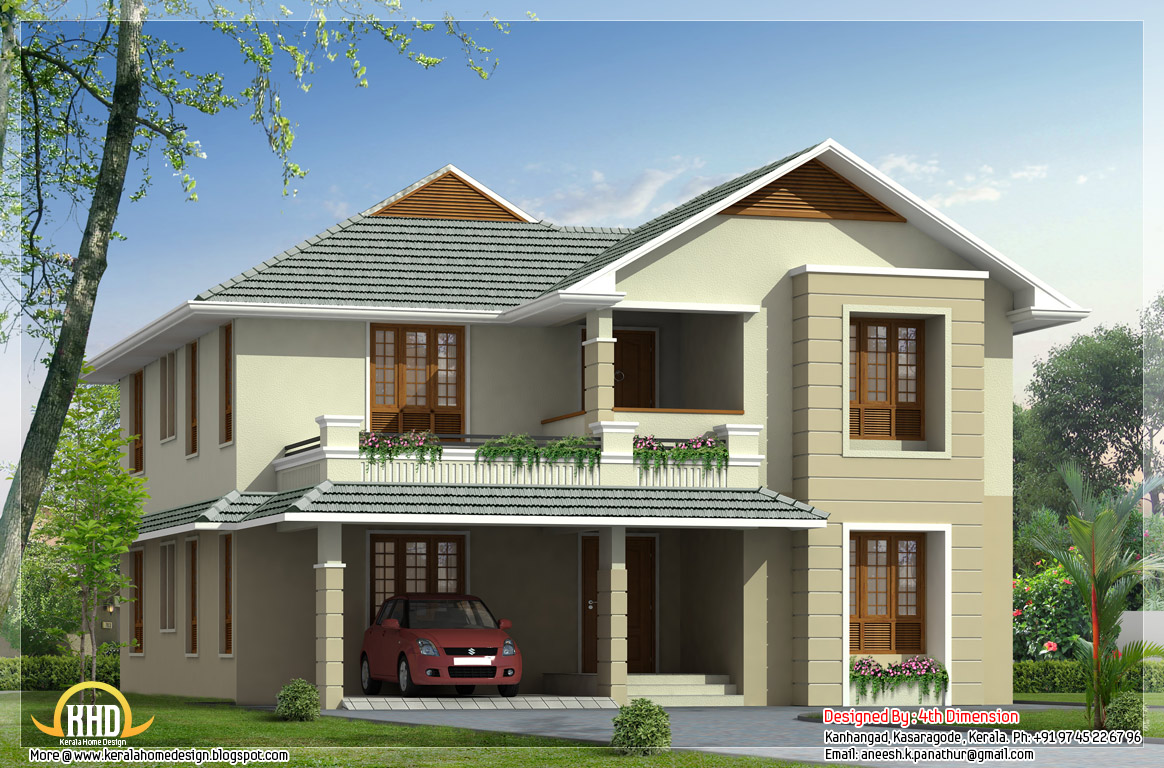 2500 sq ft double floor sloping roof house kerala home for Sloped roof house plans in india