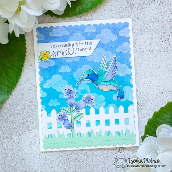 Hummingbird Card by Larissa Heskett   Hummingbird Stamp Set, Fence Die Set, Land Borders Die Set and Frames & Flags Die Set by Newton's Nook Designs #newtonsnook #handmade