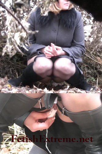 Beautiful bride is pissing outdoor on the piss spy video (Wedding Pissing Park 15)