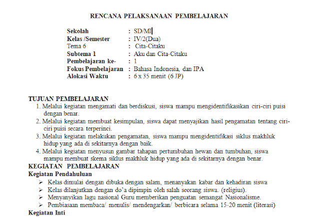 RPP 1 Lembar Kelas 4 SD/MI Tema 6: Cita-citaku