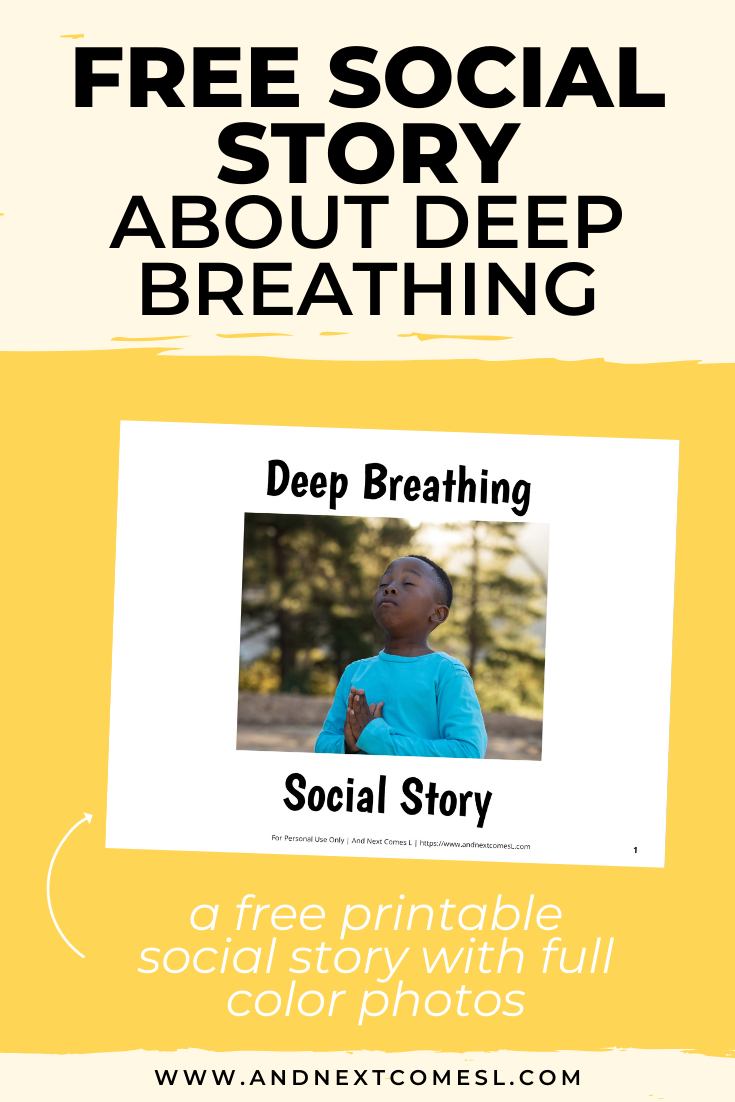 Free printable social story for kids with autism about deep breathing