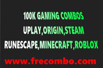 100K GAMING COMBOS - UPLAY,ORIGIN,STEAM,RUNESCAPE,MINECRAFT,ROBLOX