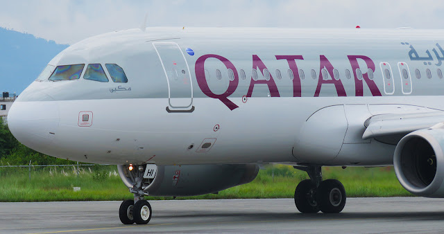 A7-AHI of Qatar Airways Airbus 320-200 taxing at Kathmandu arrived from Doha.