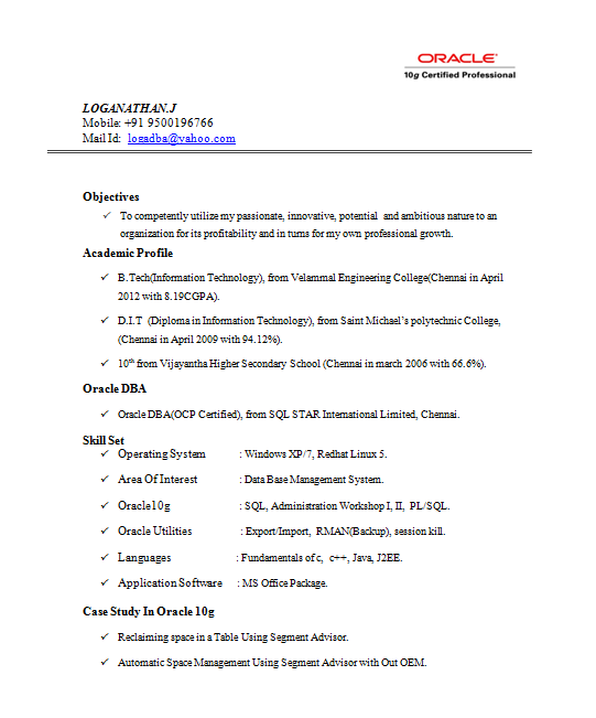 sample resume for oracle certified professional