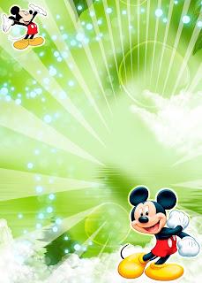 Tarjeta de Invitación de Mickey Mouse Verde
