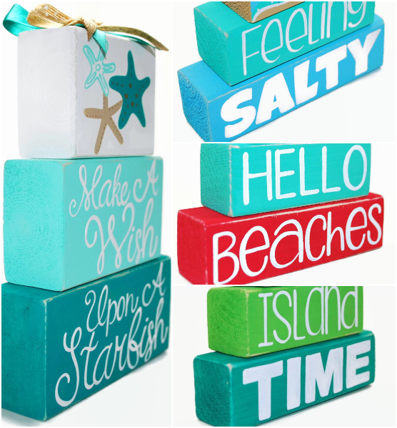 Decorative Beach Wood Block Signs