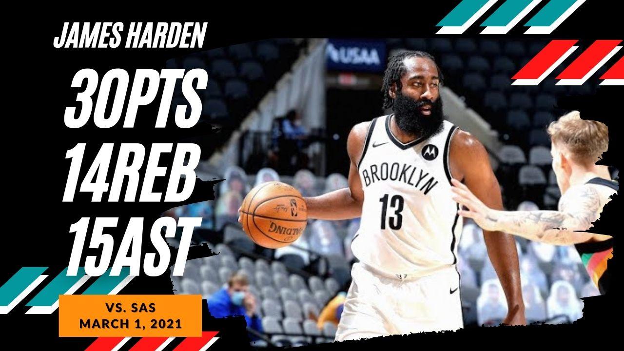 James Harden 30pts 14reb 15ast vs SAS | March 1, 2021 | 2020-21 NBA Season