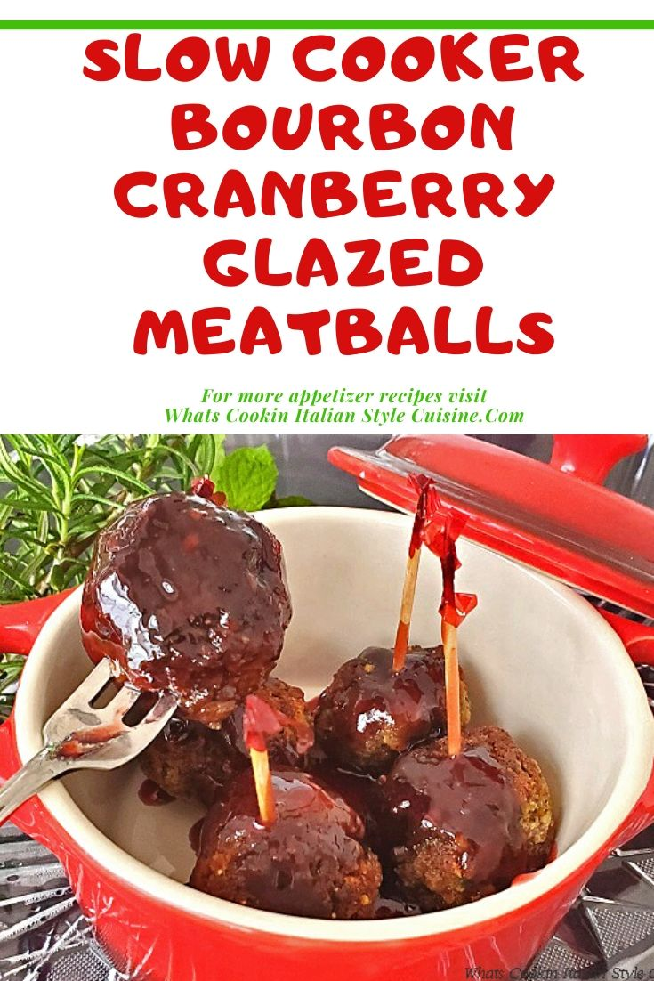 pin for later photo of mini meatballs in a bourbon barbecue glaze sauce