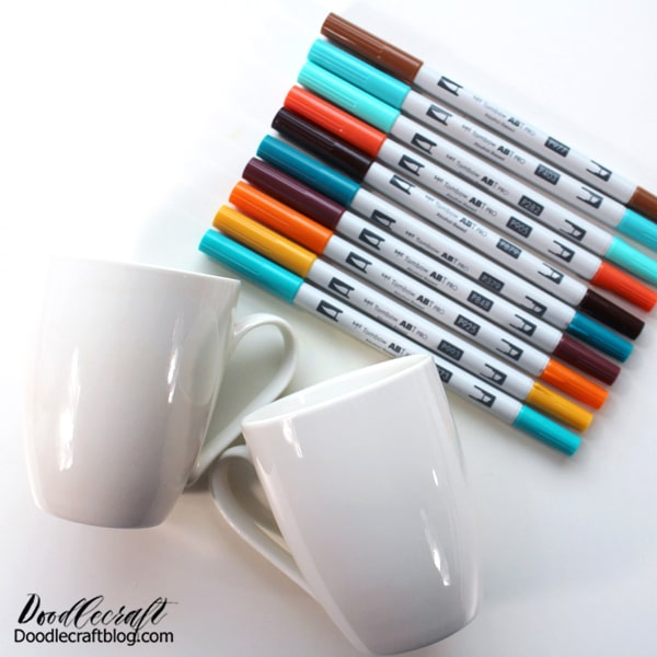 Supplies Needed for Color Block Autumn Mugs: Tombow ABT PRO Alcohol-Based Markers Ceramic mugs Clear spray finish Painters tape
