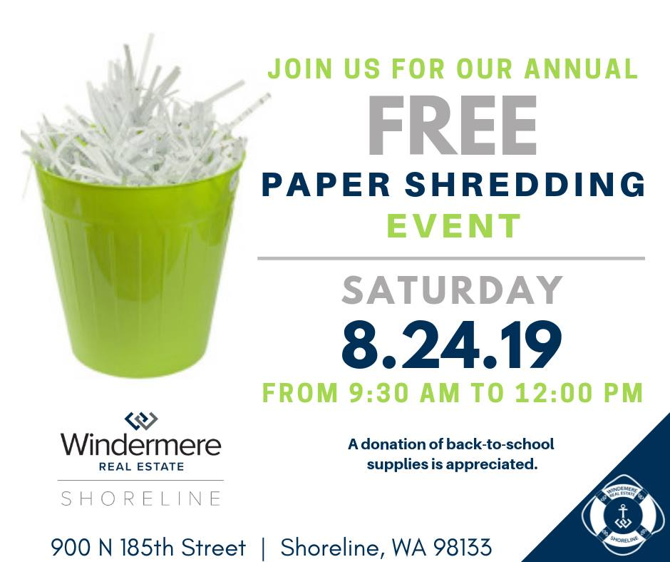 Shoreline Area News: Windermere Shoreline paper shredding