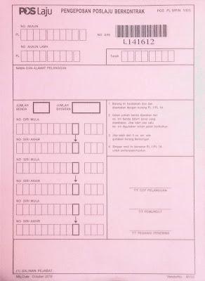 Pos Laju Borang Pink (PL9)