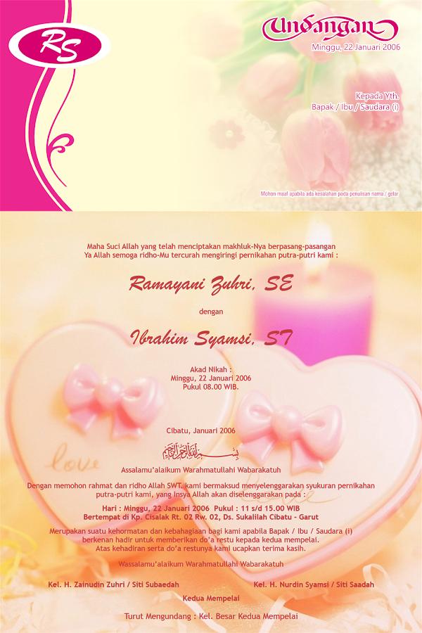 Desain Gratisan Undangan Pernikahan Warna Pink Cantik