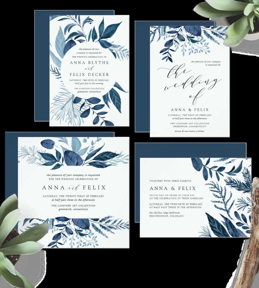 winter wedding invitations 2019 2020 blue leaves