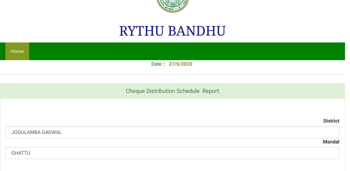 Rythu Bandhu Scheme beneficiary list
