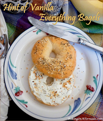 Hint of Vanilla Everything Bagel, a hint of vanilla in the dough, homemade everything seasoning on top, preps in 10 minutes, bakes in 25!| Recipe developed by www.BakingInATornado.com | #recipe #bake