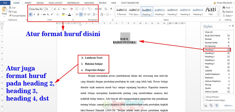 Format huruf heading