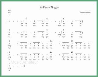 not angka lagu ka parak tingga lagu daerah sumatera barat