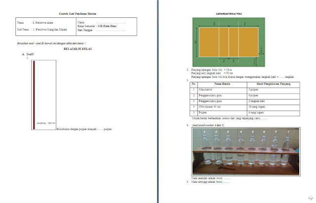 Soal Penilaian Harian (PH) Kelas 1 SD/MI: Tema 8