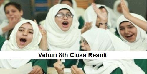 Vehari 8th Class Result 2019 PEC - BISE Vehari Board Results