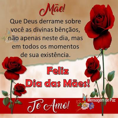 Mãe...  Que Deus derrame sobre você as divinas bênçãos,  não apenas neste dia, mas em todos os  momentos de sua existência. Te Amo!