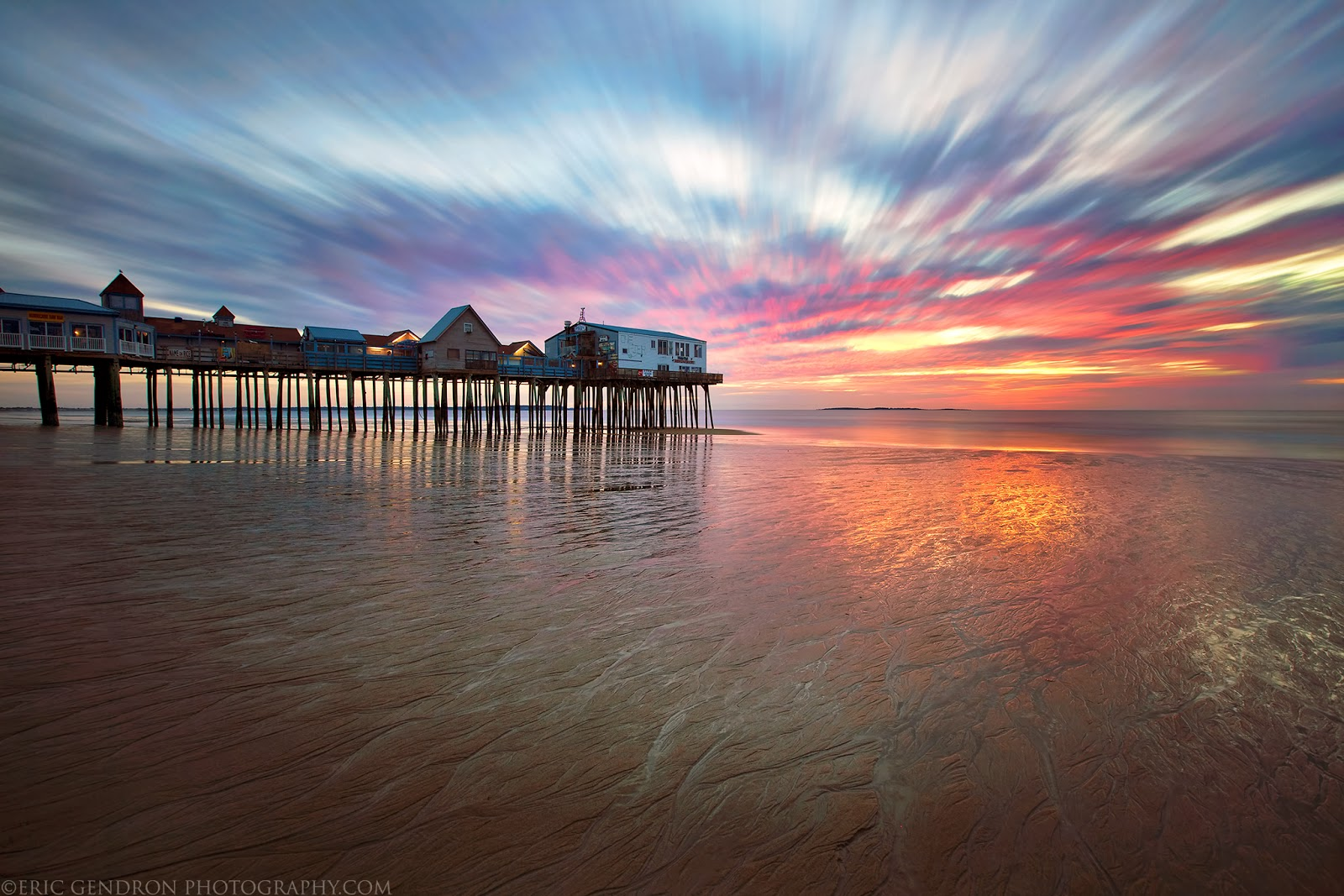 sunrise at the Old Orchard Beach Pier in maine