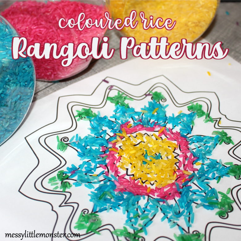 Coloured rice rangoli patterns