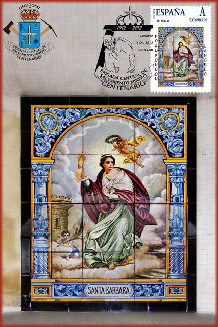Tarjeta con sello personalizado de la Santa Bárbara del Pozo Fondón con matasellos del Centenario de la Brigada de Salvamento Minero de Grucomi, Sama de Langreo 2012