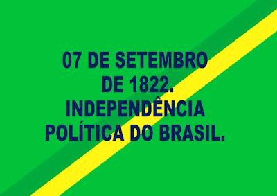 A imagem nas cores da bandeira do Brasil está escrito:7 de setembro de 1822. Independência política do Brasil.