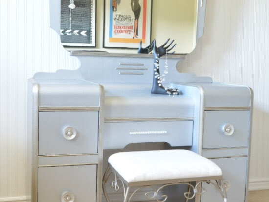 Vintage Waterfall Vanity Hollywood Glam Makeover