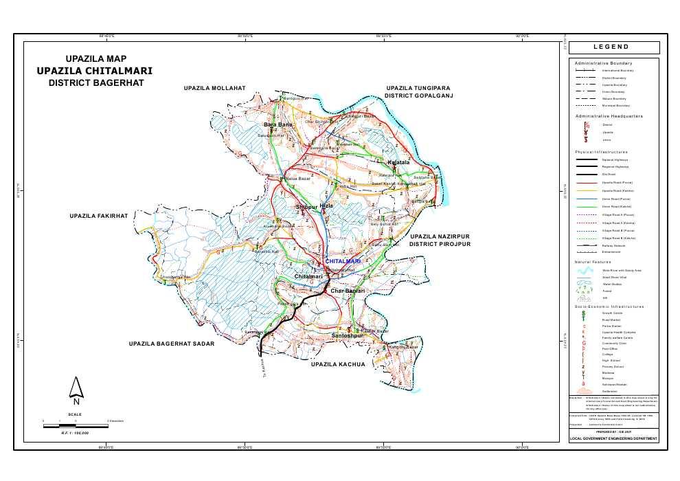 Chitalmari Upazila Map Bagerhat District Bangladesh