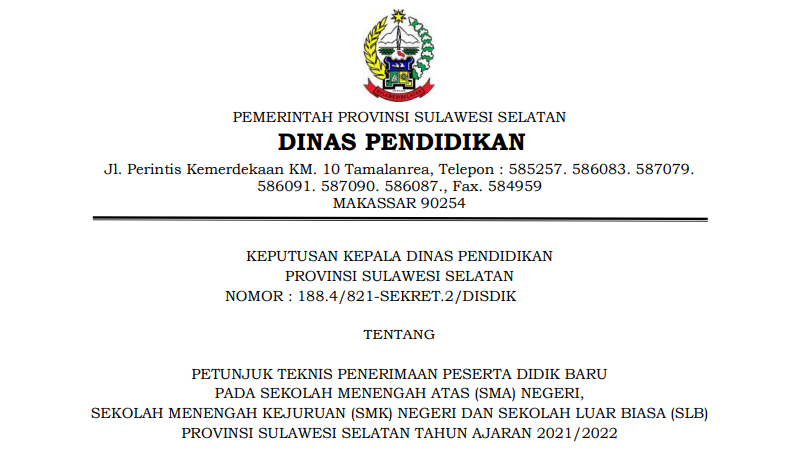 Petunjuk Teknis Juknis PPDB SMAN SMK Provinsi Sulawesi Selatan Tahun Pelajaran 2021/2022