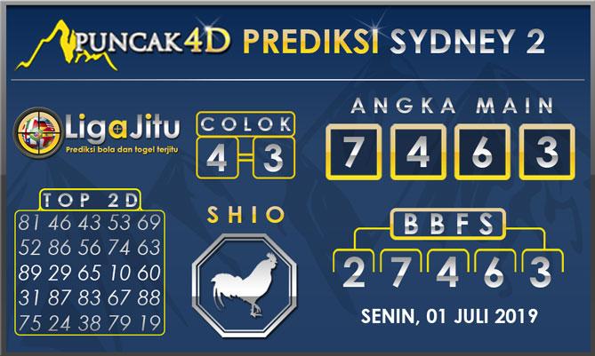 PREDIKSI TOGEL SYDNEY2 PUNCAK4D 01 JULI 2019