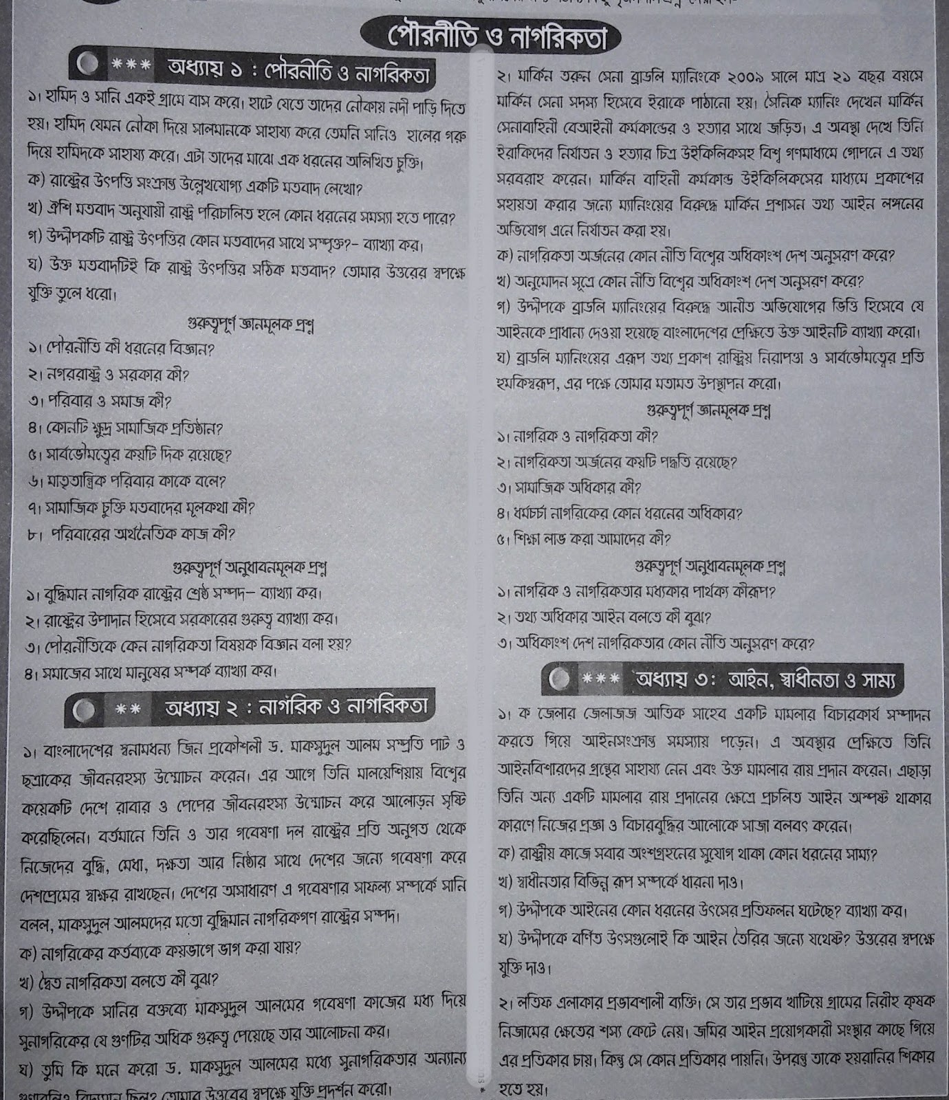 ssc Civics & Citizenship suggestion, exam question paper, model question, mcq question, question pattern, preparation for dhaka board, all boards