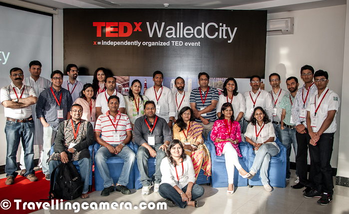 After attending TEDx Connaught Place at Indian American Center, I heard of TEDx WalledCity and registered for it. It happened on 8th April 2012 at Constitution Club of India. Here is a quick Photo Journey with my personal voews about the event !TEDx WalledCity was planned to start at 2:30 pm, so I started from Noida at 1:00 pm and reached at venue by 2:20 pm. After reaching the place I realized that there were very few folks in the hall. After lot of random chit-chat, a video started around 3:15 pm and I had already watched the video earlier, so this couldn't fill up for late start of the show.So in this TEDx event only videos were showcased with zero discussion about the ideas being shared through these videos. The simple question arises that why folks need to get together at a place for watching the videos which are available online. So if someone ask me about the worth of spending 6 hrs, outside the home and compromising on other things, to watch these videos? It's not worth... If it's not clear from above description of the event - There was no live speaker in the event, only videos were played During the event of 3 hrs, there was  small partial-interactive session where everyone was given a card to mention about gender discrimination and discuss ways to solve them. Some discussions happened in small groups of 4-6 folks. This was interesting part when we got to know about some folks in the hall.Getting clicked with this poster of the event was one of the main agenda :) ... So here I request to organizers of 'TEDx WalledCity' to think about some ideas to better organize TEDx events !
