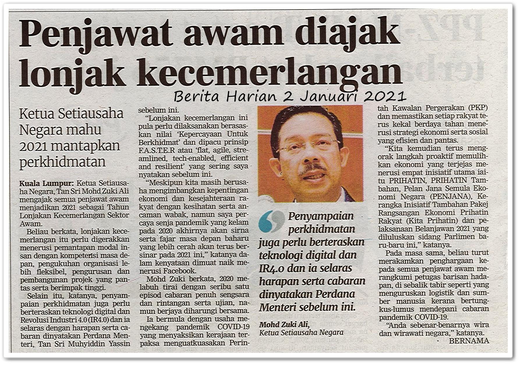 Penjawat awam diajak lonjak kecemerlangan - Keratan akhbar Berita Harian 2 Januari 2021
