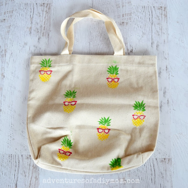 pineapple stenciled fabric tote