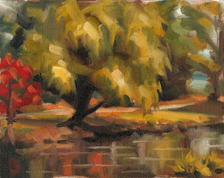 Landscape oil painting of a willow tree beside a pond in autumn