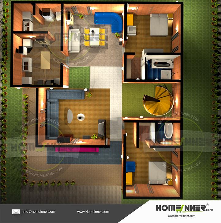 Free Low cost 2 Bedroom 3D floor plan House plan