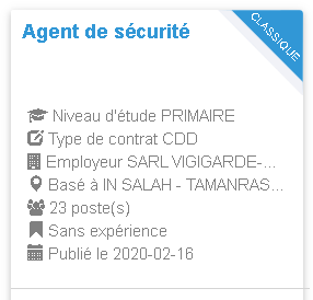 Agent de sécurité Employeur : SARL VIGIGARDE-ORAN