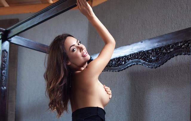 Adrienn Levai bedroom striptease big boobs