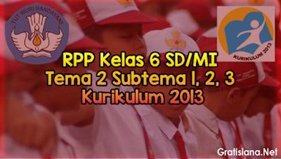 Kumpulan RPP Kelas 6 SD/MI Tema 2 Subtema 1, 2, 3 K13