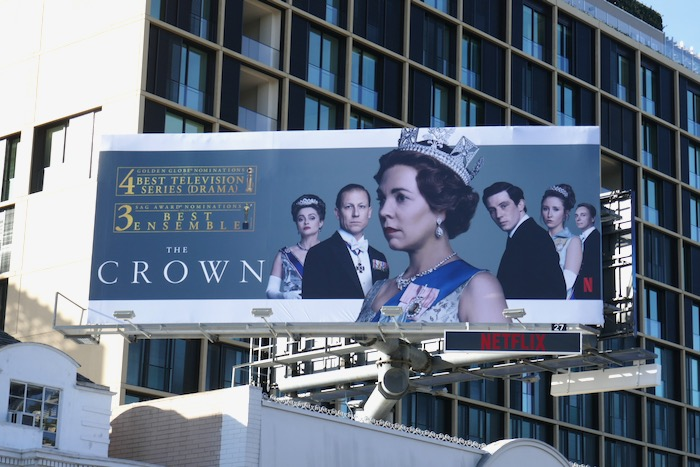 Crown season 3 Golden Globe nominee billboard