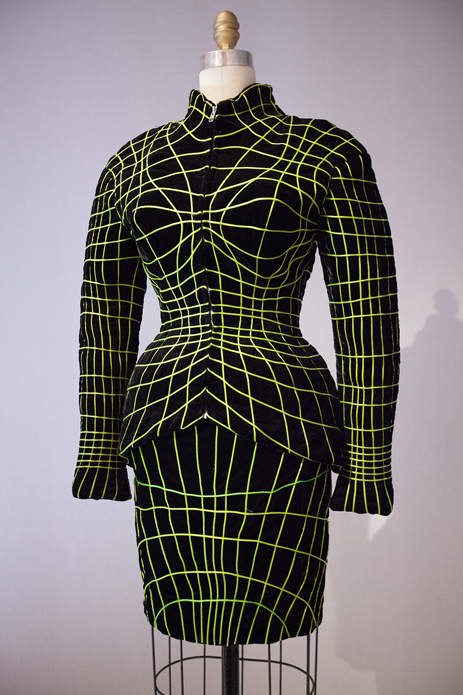 I call this the the Matrix dress!  NEON DANS LA NUIT SUIT 1990/91 hand embroidered with fluorescent stripes