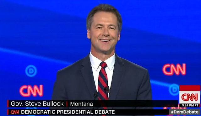 Governor Steve Bullock Montana CNN Democrat presidential debate smiling happy cool