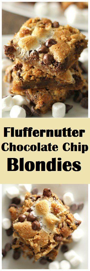 Fluffernutter Chocolate Chip Blondies