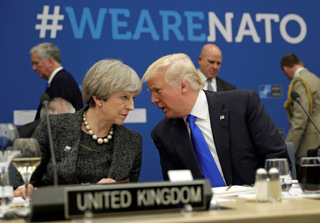 British Prime Minister Theresa May planned to discuss leaked intelligence about the Manchester attack with Donald Trump at the NATO Summit
