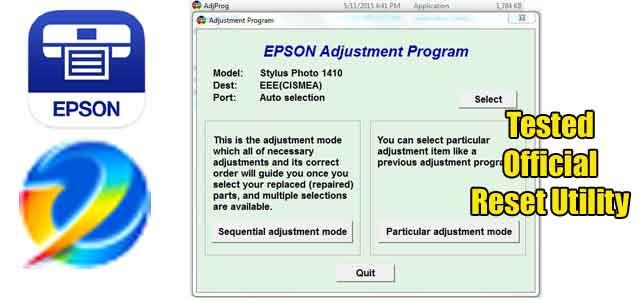 Epson Stylus Photo 1410 Adjustment program (Reset Utility) Free Download