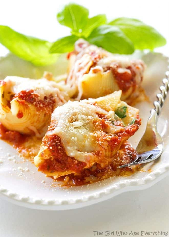 These Chicken and Spinach Stuffed Shells are a tried and true favorite that I love serving to company. The flavor is incredible and it makes a ton!