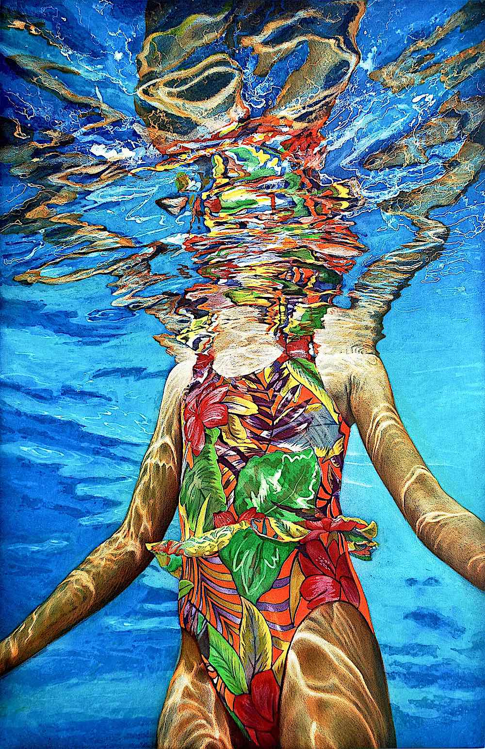 an Art Werger painting, underwater girl in a swimming pool